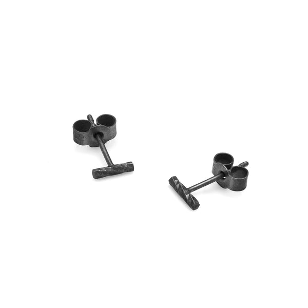 Mini Diamond Bar Stud Earrings - Oxidised Silver - Myia Bonner Jewellery