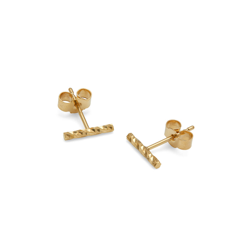 Diamond Bar Stud Earrings - Gold - Myia Bonner Jewellery