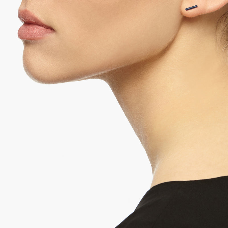 Faceted Bar Stud Earrings - Oxidised Silver - Myia Bonner Jewellery