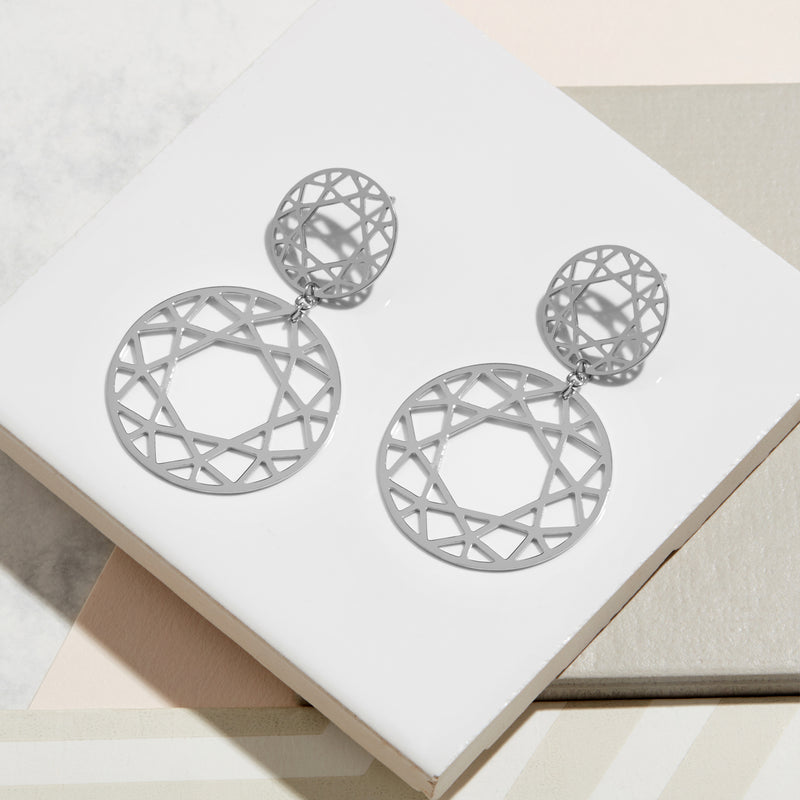 Double Drop Brilliant Diamond Earrings - Silver - Myia Bonner Jewellery