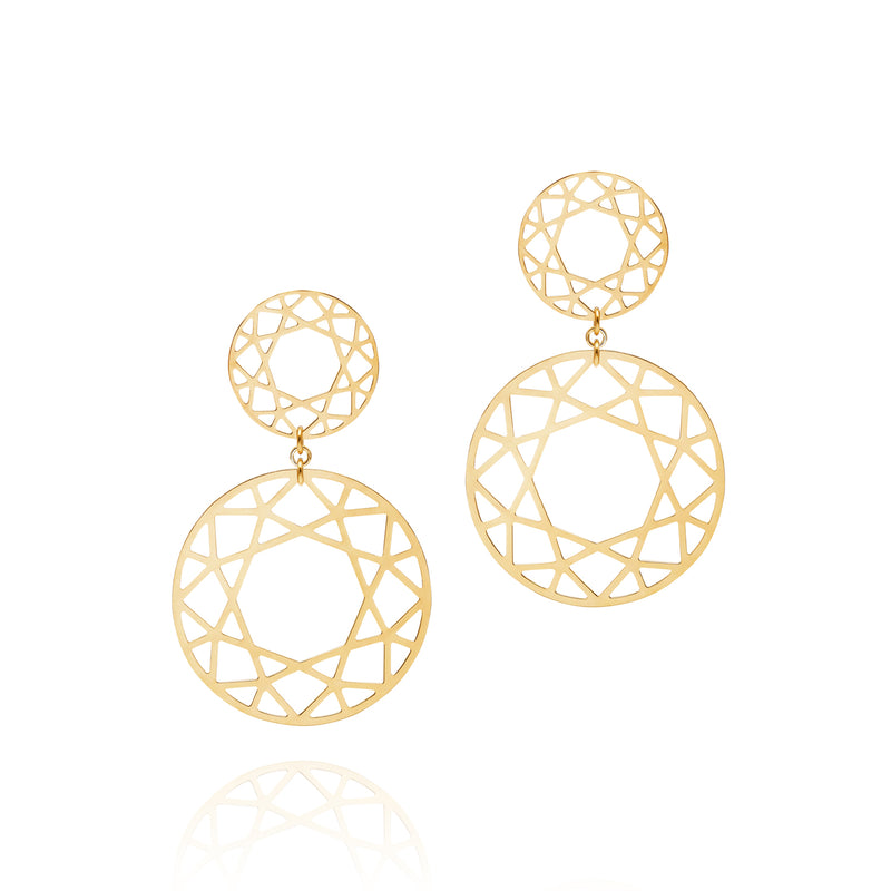 Double Drop Brilliant Diamond Earrings - Gold - Myia Bonner Jewellery