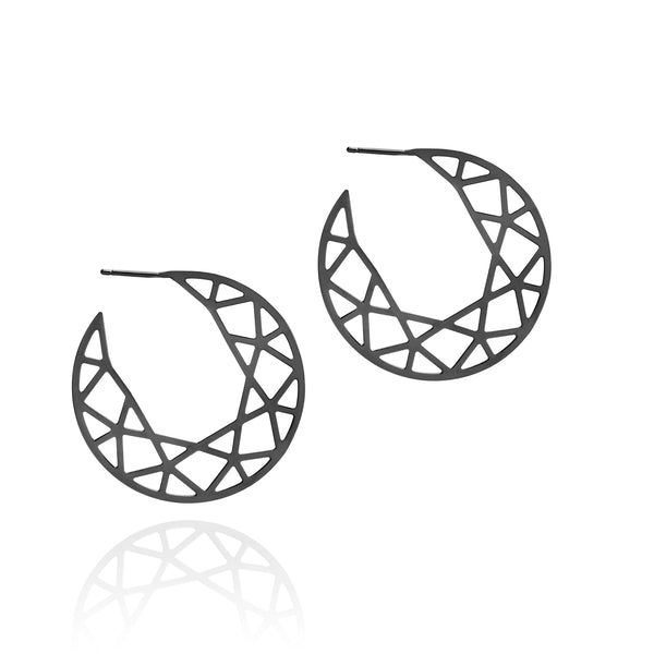 Brilliant Diamond Hoop Earrings - Black - Myia Bonner Jewellery
