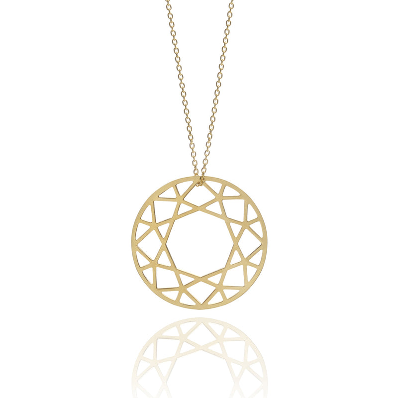 Large Brilliant Diamond Necklace - Gold - Myia Bonner Jewellery