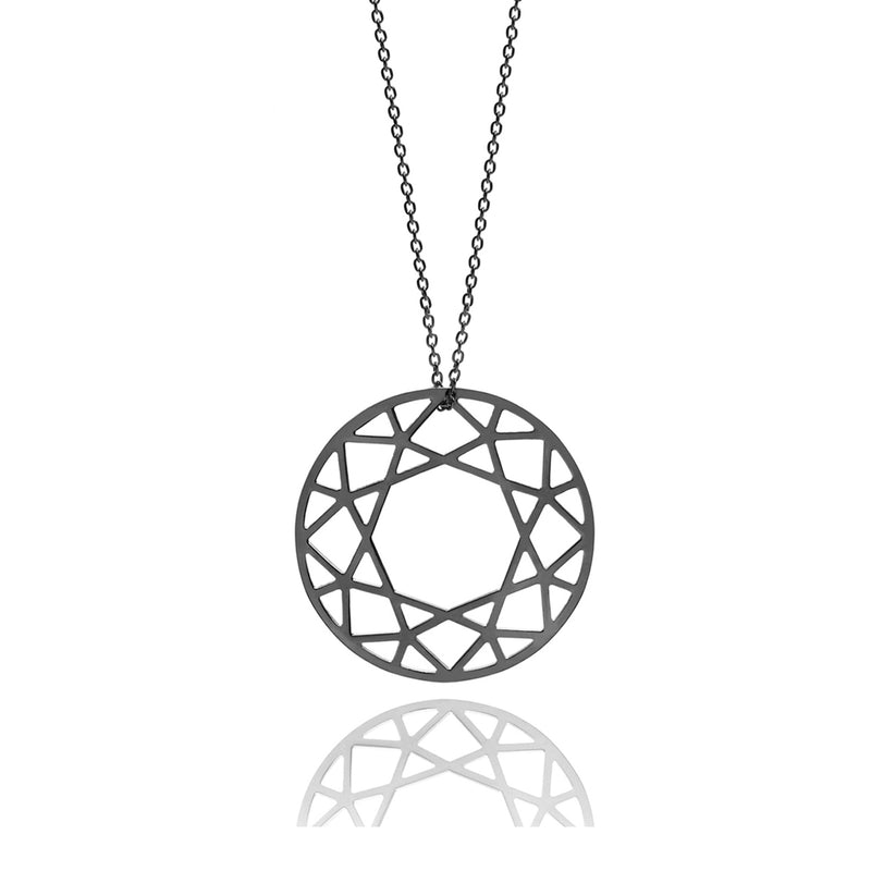 Large Brilliant Diamond Necklace - Black - Myia Bonner Jewellery