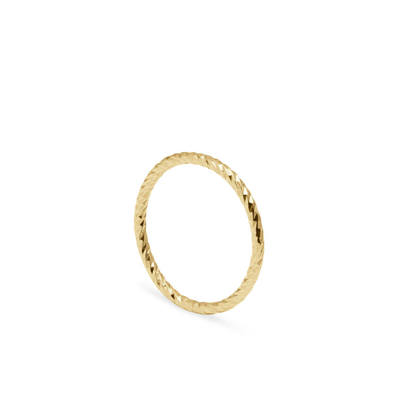 Faceted Diamond Ring - 9k Yellow Gold