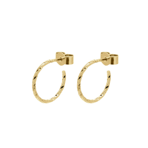 Mini Diamond Hoop Earrings - Gold - Myia Bonner Jewellery
