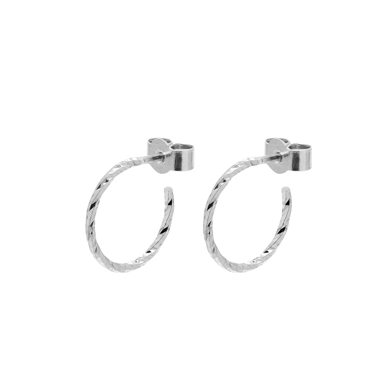 Mini Diamond Hoop Earrings - Silver - Myia Bonner Jewellery