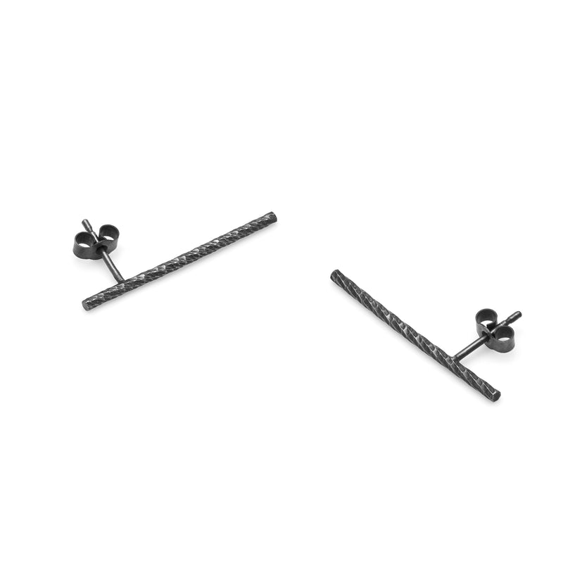 Long Faceted Bar Stud Earrings - Oxidised Silver - Myia Bonner Jewellery