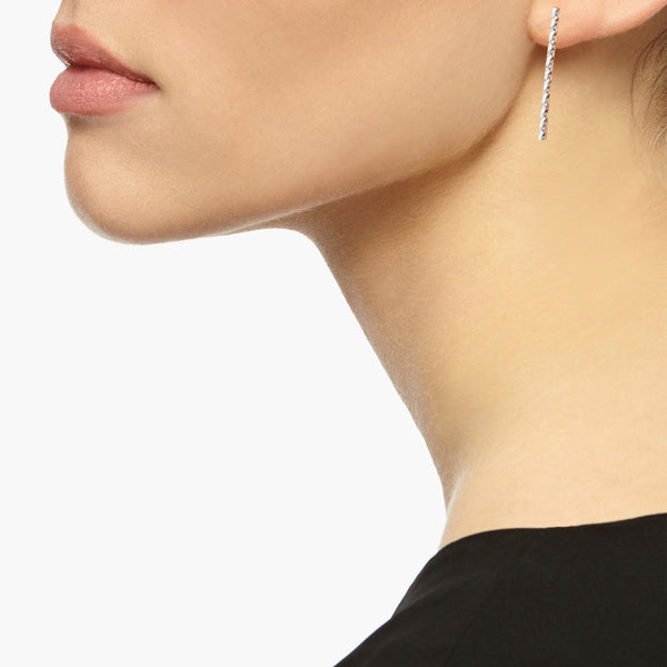 Long Faceted Bar Stud Earrings - Silver - Myia Bonner Jewellery
