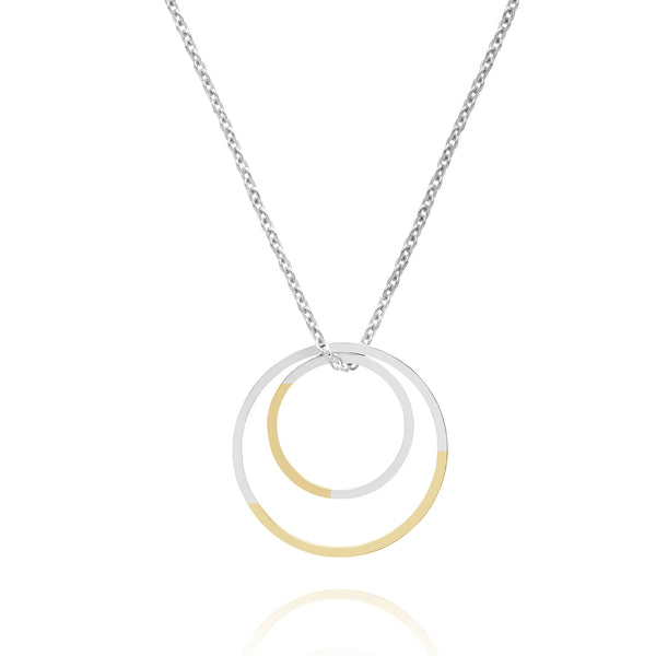 Golden Ratio Double Circle Necklace - 9k Yellow Gold & Silver