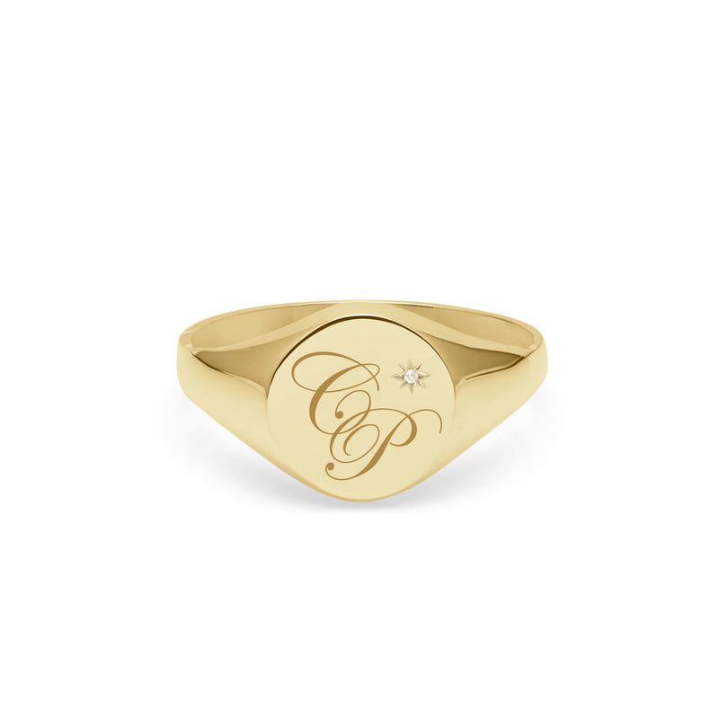 Double Initial Edwardian Round Signet Ring with diamond - 9k Yellow Gold - Myia Bonner Jewellery