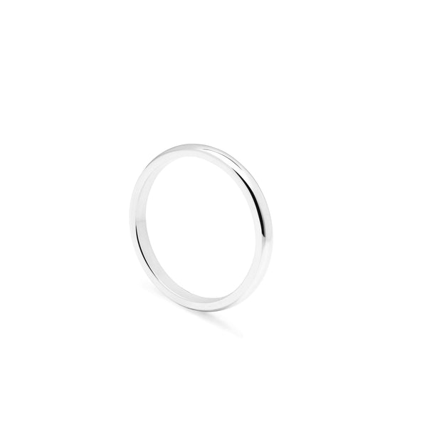Slim D-shape Ring - Platinum