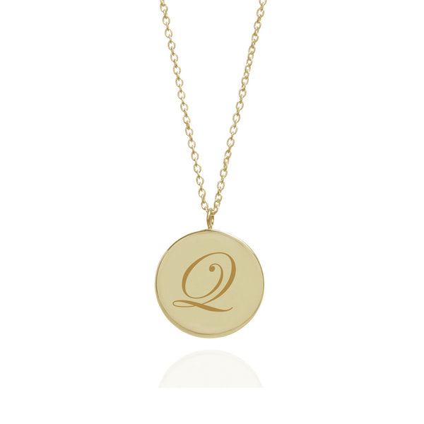 Initial Q Edwardian Pendant - 9k Yellow Gold - Myia Bonner Jewellery