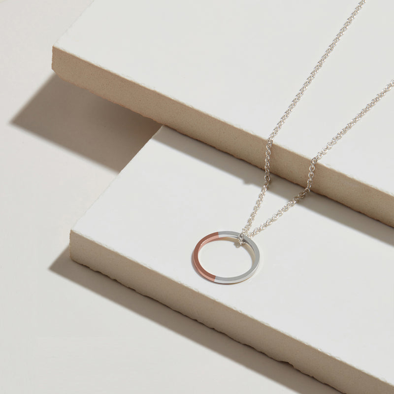 Golden Ratio Circle Necklace - 9k Rose Gold & Silver