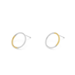 Golden Ratio Circle Stud Earrings - 9k Yellow Gold & Silver