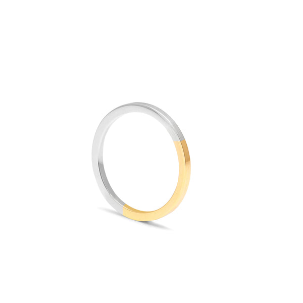 Golden Ratio Square Ring - 9k Yellow & White Gold