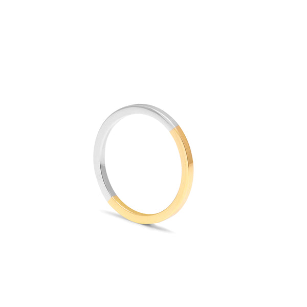 Two-tone Square Ring - 9k Yellow & White Gold - Myia Bonner Jewellery