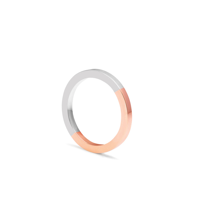 Two-tone Square Band - 9k Rose Gold & Silver - Myia Bonner Jewellery