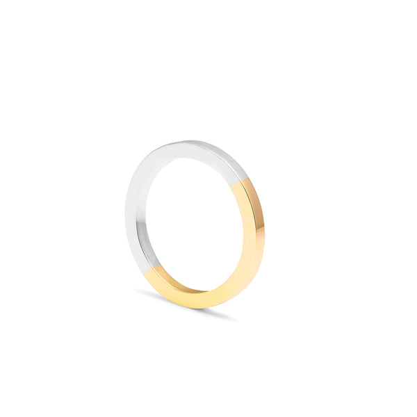 Two-tone Square Band - 9k Yellow Gold & Silver - Myia Bonner Jewellery