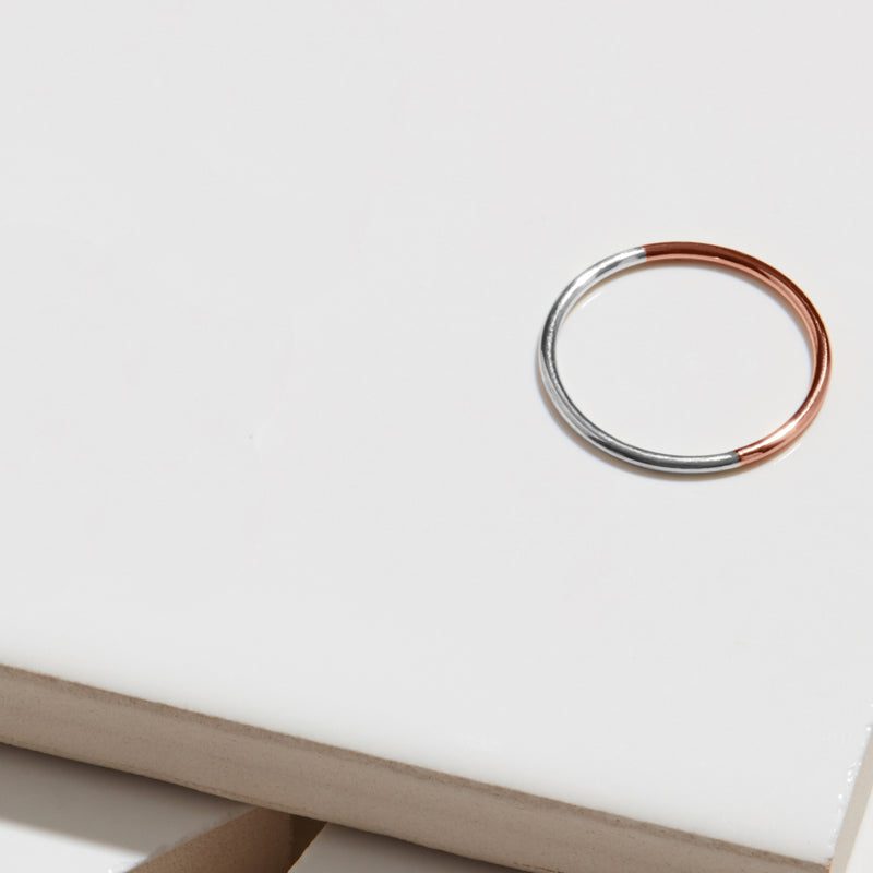 Two-tone Skinny Round Stacking Ring - 9k Rose Gold & Silver - Myia Bonner Jewellery