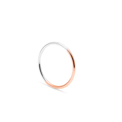 Two-tone Skinny Round Ring - 9k Rose & White Gold - Myia Bonner Jewellery