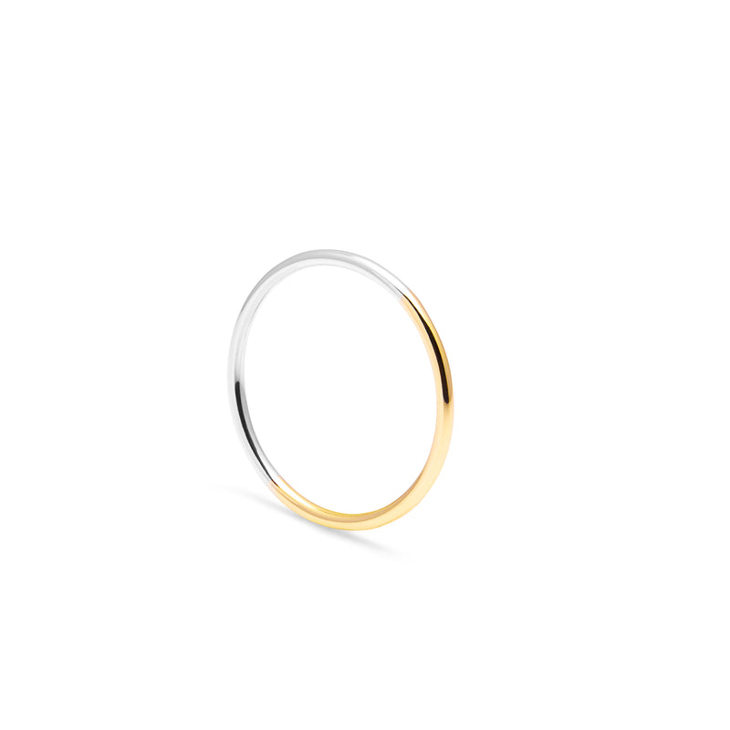 Two-tone Skinny Round Ring - 9k Yellow & White Gold - Myia Bonner Jewellery