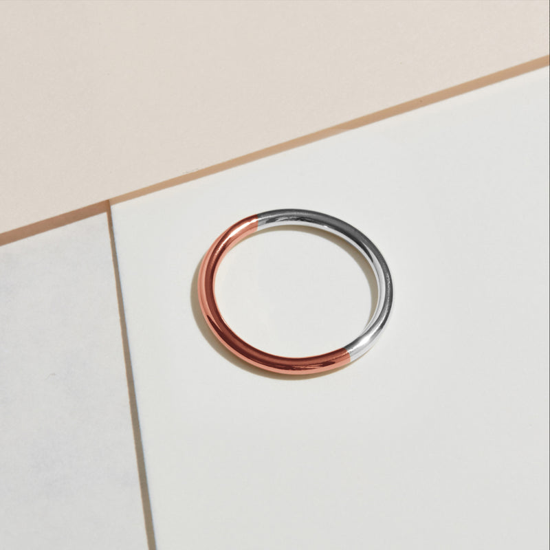 Two-tone Round Band - 18k Rose & White Gold - Myia Bonner Jewellery