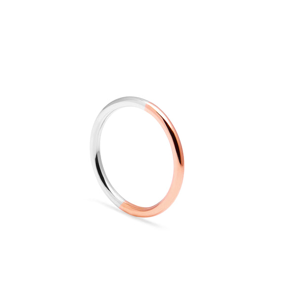 Two-tone Round Band - 9k Rose Gold & Silver - Myia Bonner Jewellery