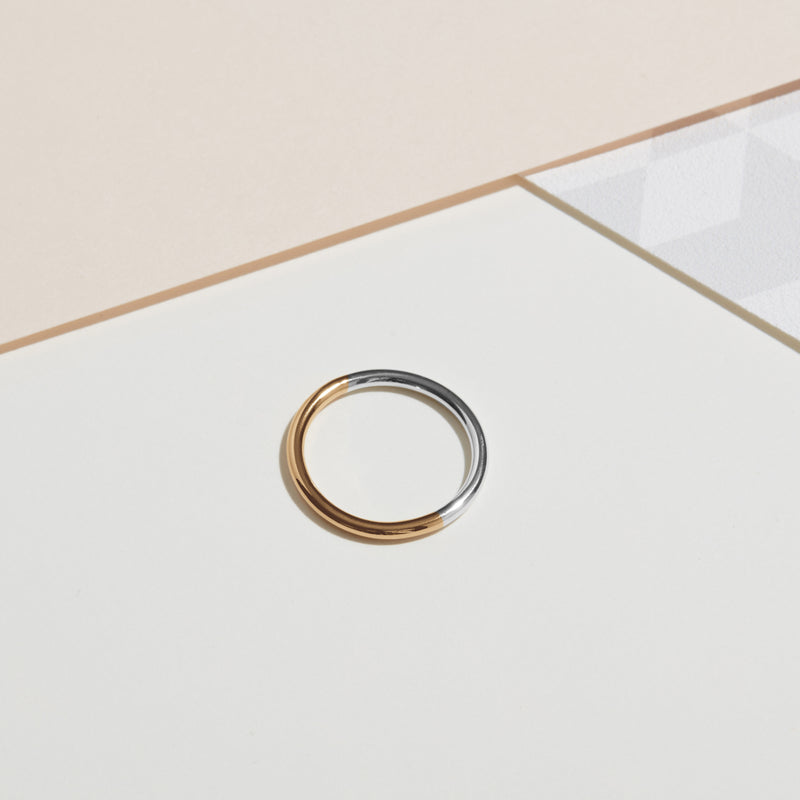 Two-tone Round Band - 18k Yellow & White Gold - Myia Bonner Jewellery
