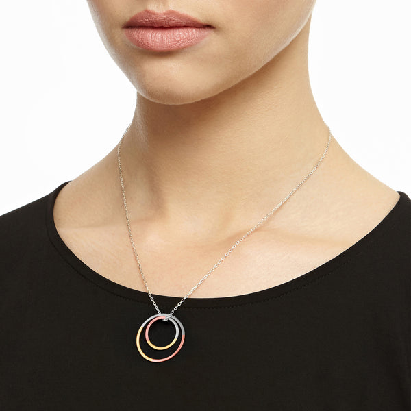 Three-Tone Double Circle Necklace - 9k Yellow & Rose Gold & Silver