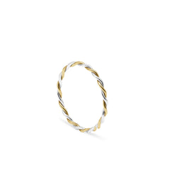 Two-tone Twist Stacking Ring - 9k Yellow Gold & Silver