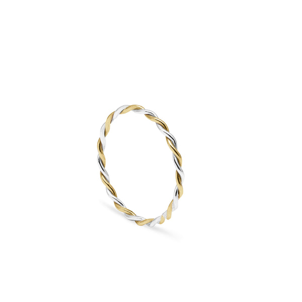 Two-tone Twist Stacking Ring - 9k Yellow & White Gold - Myia Bonner Jewellery