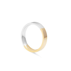 Two-tone 4mm Flat Comfort Fit Band - 9k Yellow & White Gold - Myia Bonner Jewellery