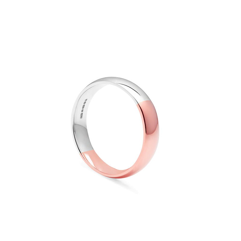 Two-tone Court 4mm Comfort Fit Band - 18k Rose & White Gold - Myia Bonner Jewellery