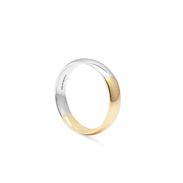 Two-tone Court 4mm Comfort Fit Band - 9k Yellow & White Gold - Myia Bonner Jewellery