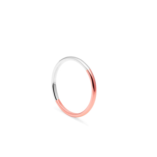 Two-tone Slim D-shape Ring - 9k Rose & White Gold