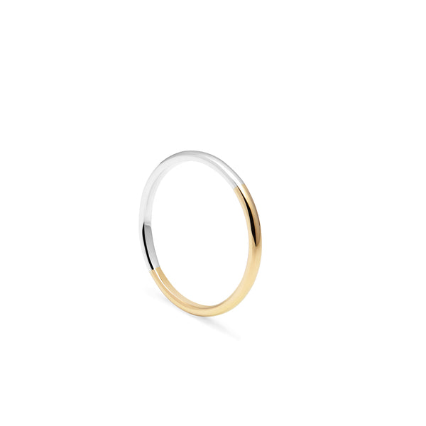Two-tone Slim D-shape Ring - 18k Yellow & White Gold