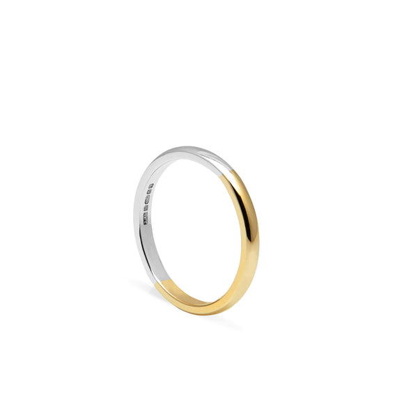 Two-tone D-shape Ring - 9k Yellow & White Gold - Myia Bonner Jewellery