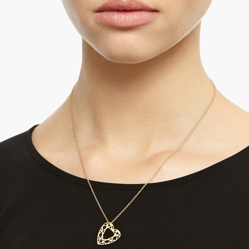 Small Heart Diamond Necklace - Gold - Myia Bonner Jewellery