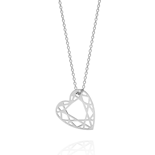 Small Heart Diamond Necklace - Silver - Myia Bonner Jewellery