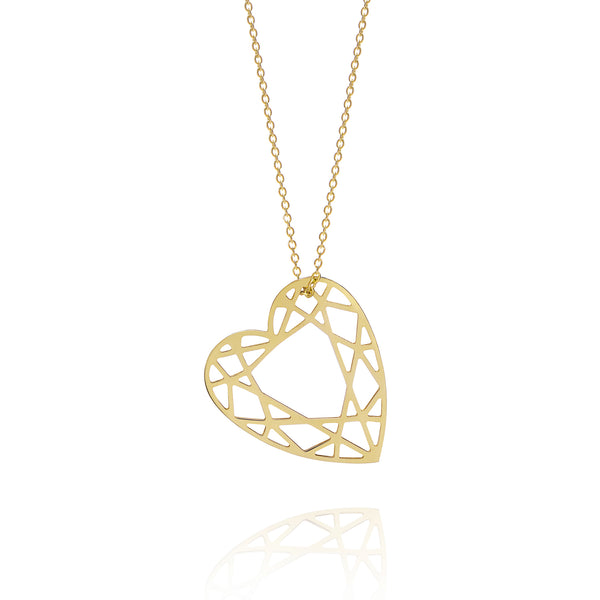 Medium Heart Diamond Necklace - Gold - Myia Bonner Jewellery