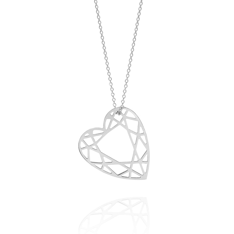 Medium Heart Diamond Necklace - Silver - Myia Bonner Jewellery