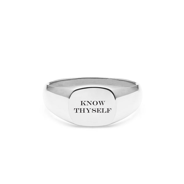 Know Thyself Cushion Signet Ring - Silver