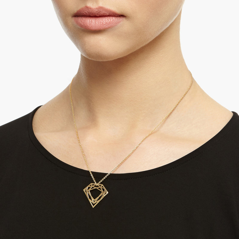 Classic Diamond Necklace - 9k Yellow Gold - Myia Bonner Jewellery