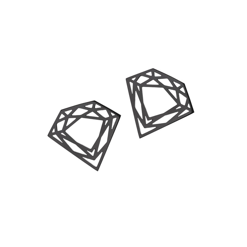 Classic Diamond Stud Earrings - Black - Myia Bonner Jewellery