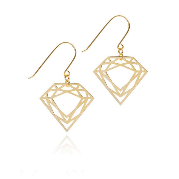 Classic Diamond Drop Earrings - Gold - Myia Bonner Jewellery