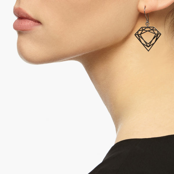 Classic Diamond Drop Earrings - Black - Myia Bonner Jewellery