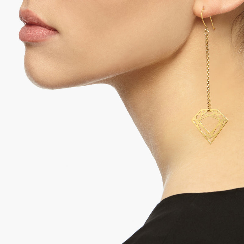 Classic Diamond Chain Earrings - Gold - Myia Bonner Jewellery