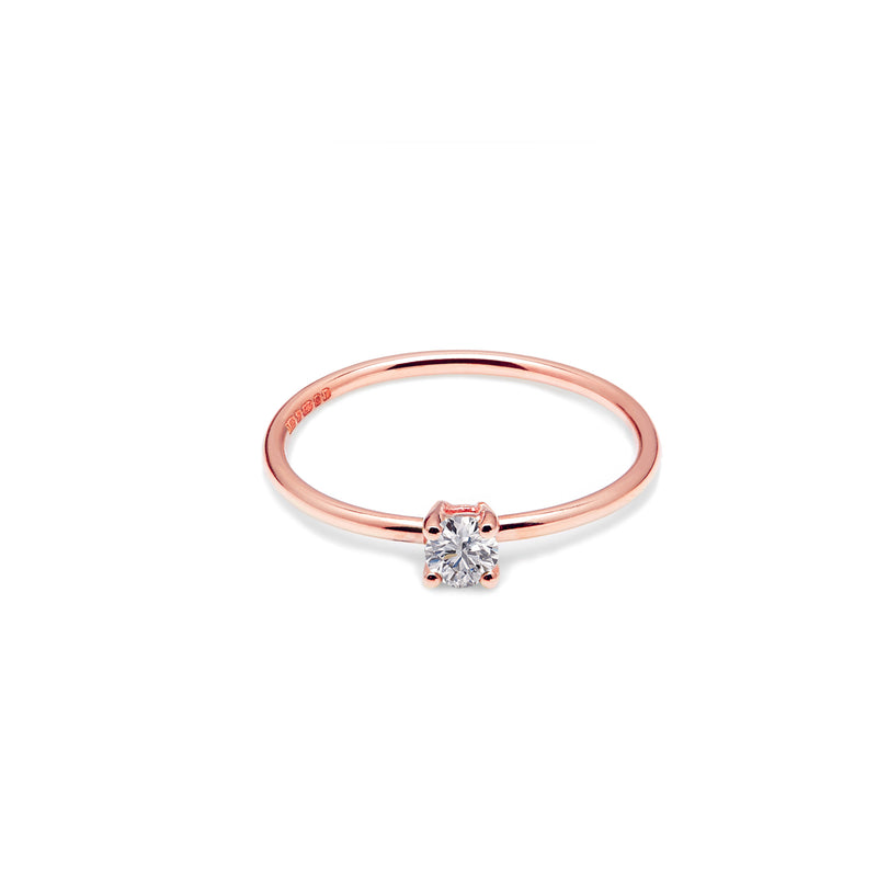 9k Rose Gold & Natural Diamond Solitaire Ring