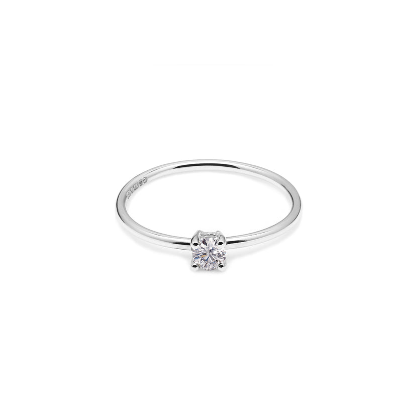 9k White Gold & Lab Grown Diamond Solitaire Ring
